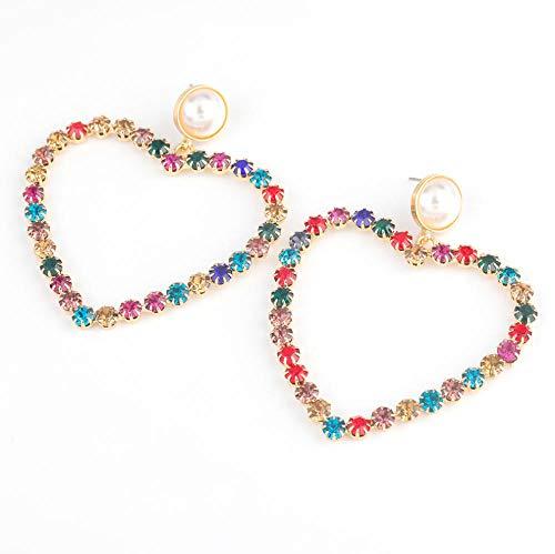 Vvff Pendientes Geométricos De Perlas De Imitación De Diamantes De Imitación Cuadrados En Forma De Corazón, Accesorios Populares De Joyería Para Fiestas Para Mujeres