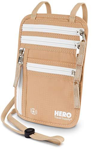 HERO Neck Wallet – RFID Blocking Passport Holder – Easy to Conceal...