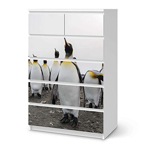 creatisto Möbeltattoo passend für IKEA Malm Kommode 6 Schubladen (hoch) I Möbelaufkleber - Möbel-Folie Tattoo Sticker I Wohn Deko Ideen für Esszimmer, Wohnzimmer - Design: Penguin Family