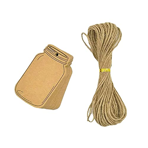 MAFELOE Kraft Paper Tags Gift Tags 50Pcs with Twine String 10 Meters for Wedding Valentine's Day Birthday Decoration, Drifting Bottle Shape Tag Gift Packaging Label Brown Craft Hang Tags