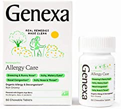 Genexa Allergy Care – 60 Tablets   Certified Organic & Non-GMO, Physician Formulated, Homeopathic   Multi-Symptom Allergy Relief Medicine