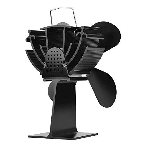 WYJW Mini Ventilador de Estufa de Calor con Pantalla Digital de Temperatura 4 aspas Ventilador de Chimenea Negro Ahorro de Combustible Ventilador de Estufa térmica silencioso