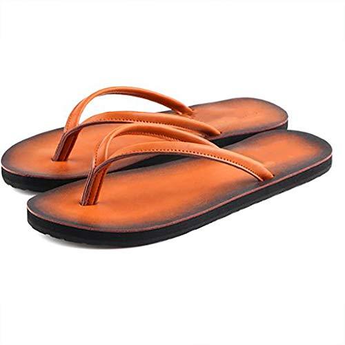 WSS Flip-Flops, Abriebfeste Sandalen, rutschfestes Leder, Gute Kompression und Dämpfung (Farbe : B, Größe : 44)