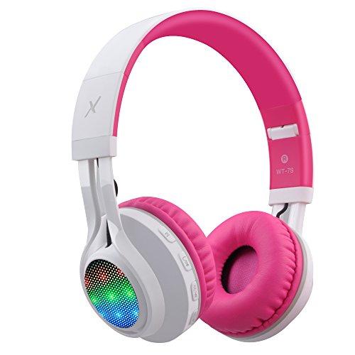 Riwbox WT-7S - Auriculares Bluetooth con LED Lingt Up estéreo Plegables con micrófono y Control de Volumen para PC/iPhone/TV/iPad (Rosa y Blanco)