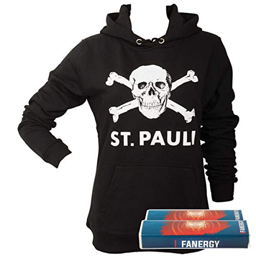 FC St. Pauli Damen Pullover Hoodie Kapuzenpullover Fanartikel Totenkopf Schwarz + 2X Fanergy Traubenzucker (L)