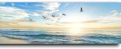 HUAZAI Pintura de la Lona Mar Playa Natural Flying Birds Poster Horizontal e Imprime la Lona de Pintura del Arte Imagen de la Sala de Estar Cuadros Decoración Salon de Gran tamaño Sala
