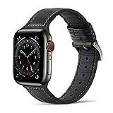 Tasikar Compatibile per Cinturino Apple Watch 38 mm 40 mm Cinturini di Design in Vera Pelle e Silicone Morbido per Apple Watch SE Serie 6/5/4 Serie 3/2/1 - (38mm 40mm, Nero)