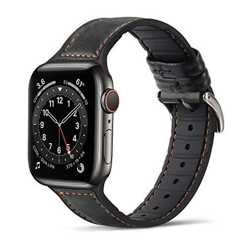 Tasikar Compatibile per Cinturino Apple Watch 42 mm 44 mm Cinturini di Sportivo in Vera Pelle e Silicone Morbido per Apple Watch SE Serie 6/5/4 Serie 3/2/1 - (42mm 44mm, Nero)