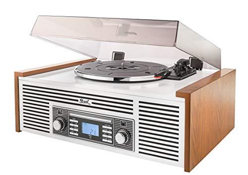 Dual NR 7 Stereo-Nostalgie Musikanlage mit Plattenspieler (UKW-Tuner, CD-RW, MP3, USB, Bluetooth, Aux-In) braun