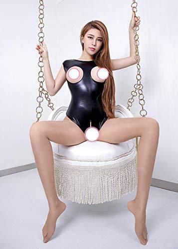 Wxxly Leder Sexy Dessous Clubwear Kostüm Frauen Jumpsuit Body Babydoll Nachthemd mit offenem Schritt,Schwarz,XXXL