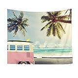 Lorigun - Arazzo da parete per soggiorno, camera da letto, decorazione per la casa, per un viaggio al mare in estate, palma di cocco e brezza marina, stile estivo
