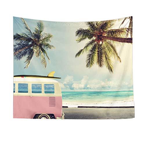 Tapiz Tapices para colgar en la pared Decoración Sala de estar Dormitorio Para el hogar Decoración de la casa,Tener un viaje a la playa en verano,Cocotero y brisa marina,Tapicería de estilo veraniego