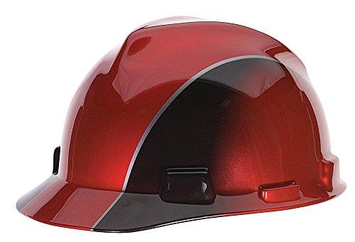 MSA 10101535 V-Gard Freedom Series Casco protector ranurado, rojo y negro, estándar