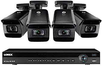 Lorex Weatherproof Indoor/Outdoor Home Surveillance Wired Security System, 16-Channel 4K Ultra HD IP 3TB NVR System w/ 4 Outdoor (8MP) Cameras w/Color Night Vision & Audio Recording