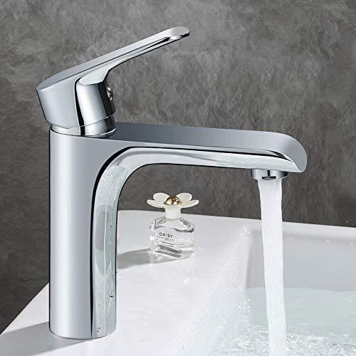 GAVAER Wasserhahn Bad, Elegant Kurvenprofil Stil Waschtischarmatur, Kaltes und Heißes Wasser Vorhanden, Premium-Qualität Keramikventil, Massivem Messing, Verchromung Prozess.