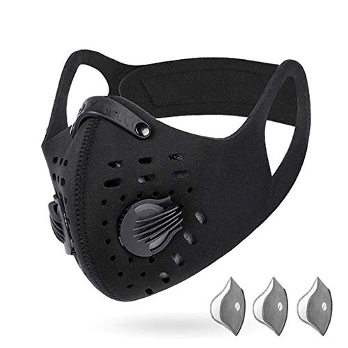 DZT1968 PM2.5 Premium Anti-Pollution Mask & Neck Gaiter Face Scarf Cover Mask for Men Women - Safest Guard for Cycling Reusable Dust Mask for Woodworking Running Sanding Mowing Half Mask (C- Black)