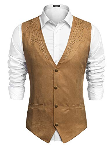 COOFANDY Men's Suede Leather Suit Vest Casual Western Vest Jacket Slim Fit Vest Waistcoat (Large, Khaki (with Pattern).)