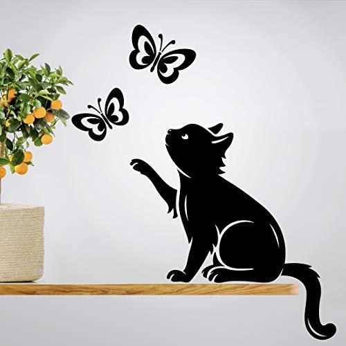 Wandaufkleber mit Katzen- und Schmetterlings-Motiv, Vinyl, Heimdekoration, Wohndekoration, Wohnzimmer-Malerei, Küche, Haustiere, Tiere, Aufkleber Design, Poster, Baum-Aufkleber, Tapete, DIY Wandbild