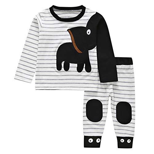 Kinder Unisex Baby 2 Stück Bekleidungsset Herbst,Yanhoo Neugeborenes Baby Jungen Mädchen Elefanten Gestreift Print T-Shirt Tops Set Casaul Kleidung (100, Schwarz)
