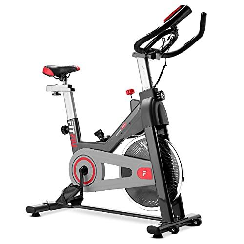 FITFIU BESP-50 - Bicicleta Indoor con disco inercia 11kg, múltiples niveles de resistencia, manillar de triatlón, Pulsómetro y pantalla LCD, Bici para casa entrenamiento Cardio y Fitness