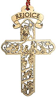 Best Jolette Designs Nativity Cross Christmas Ornament Gift, Real Wooden Decor for Tree, Office, Car. Unique Wood Holy Family Scene Gifts, 4.5X 2.625, Made in USA, Keepsake Tells The Whole Christmas Story Review
