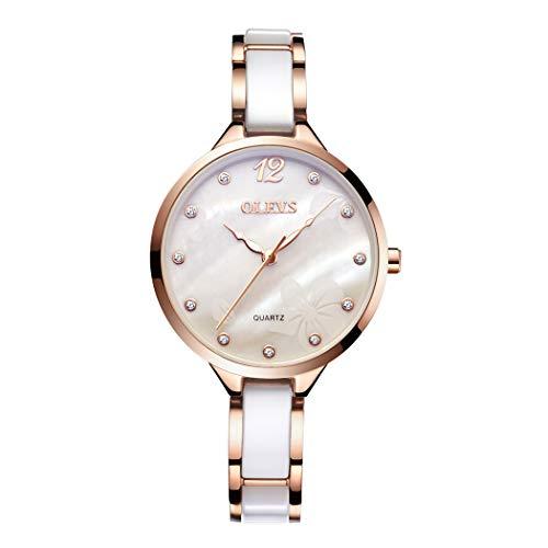 Mujer Relojes, L\'ananas 2019 Acero Cerámica Ceramics Correa de Reloj Correa Delgada Anolog Cuarzo Relojes de Pulsera Women Watches Wristwatches (A-Blanco)