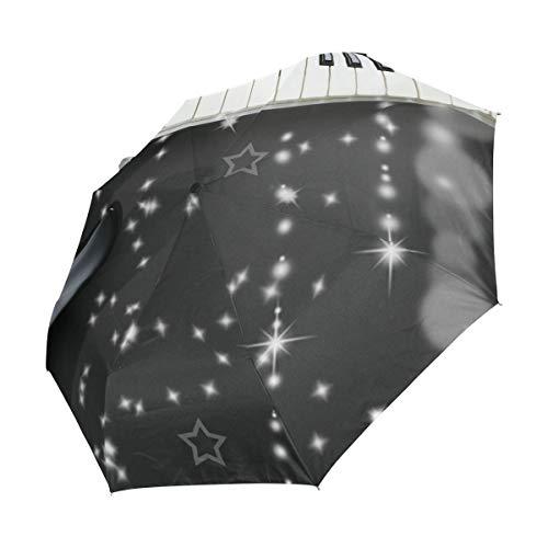 Ahomy Reise-Regenschirm, Winddicht, faltbar, für E-Gitarre, Klavier, automatisches Öffnen und Schließen, Rutschfester Griff und Schutzhülle
