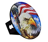 Built USA American Flag Bald Eagle | Decal Hitch Cover Plug Stainless Steel | Emblem On Metal Trailer Round Chrome-Plated | fits 2 Receiver Rustic Jeep car Truck