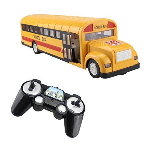 fisca RC Schulbus Fernbedienung Auto Fahrzeuge 6 Ch 2,4G Öffnungstüren Beschleunigung Verzögerung Spielzeug Wiederaufladbare elektronische Hobby Truck für Kinder