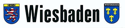 Aufkleber Wiesbaden - Schriftzug mit Wappen Hessen und Wiesbaden 50 x 220 mm ~~~~~ schneller Versand innerhalb 24 Stunden ~~~~~