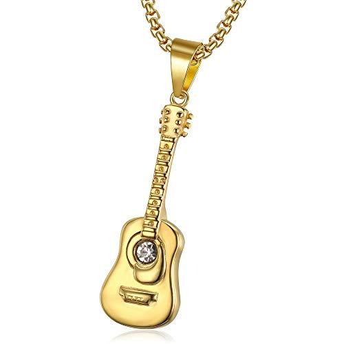 BOBIJOO JEWELRY - Colgante De Collar De La Mujer El Hombre De La Guitarra De Acero Dorado Chapado En Oro Brillante Diamante + Cadena