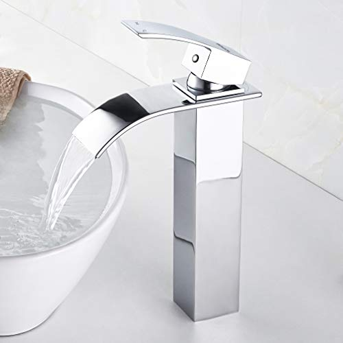 BONADE Wasserhahn Bad, Wasserfall Armatur aus Messing, Hoch Waschtischarmatur Aufsatzwaschbecken Mischbatterie, Waschtisch Einhebelmischer Badarmatur für Badezimmer