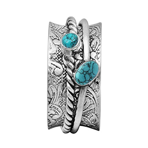 Spinner Ring|| 925 Sterling Silver Oval & Round Turquoise Gemstone Magical Stress Free Spin Band Solid Meditation Fidget Ring (X) (Q)