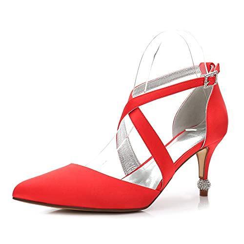 Zapato de Tacón Alto para Mujer Puntiagudos de satén con Correa en...