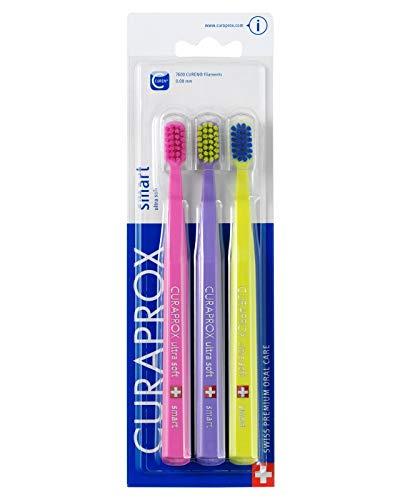 Smart Kinder & Erwachsene mit kleine Münder, Zahnbürste, Ultra Weich, 3hochwertige Pinsel, bessere Zahnreinigung, weicheres Feeling in Farben, HIS & HERS (Mädchen und Jungen). Curaprox 7600Ultra Soft Smart.
