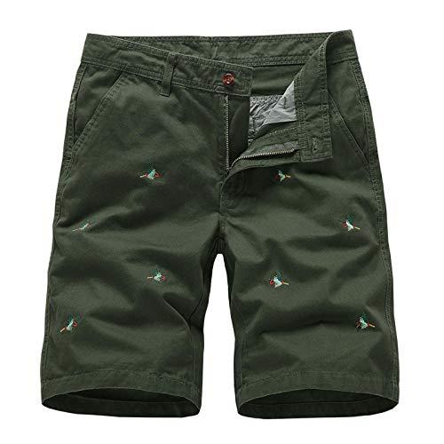 Hiking Secado Rápido Shorts Core Pants de Tenis Running Fitness Gimnasio AtletismoRopa de Trabajo Medio pantalón Recto Bordado-Ejercito Verde_30