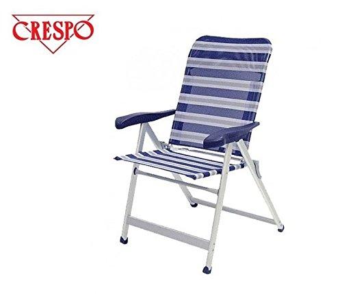 Chaise pliante de camping sTABIELO-chaise pliable avec 6 niveaux de puissance réglable de 68 cm à dossier haut en dURALUMINIUM-tube ovale léger - 3,8 kg-couleur-bleu/gris - 140 kg-charge maximale pour la commercialisation hOLLY sunshade contre supplément disponible avec hOLLY fÄCHERSCHIRMEN-hOLLY ® produits sTABIELO-innovation fabriqué en allemagne