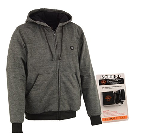 Milwaukee Performance-Men's Heated Hoodie w/Front&Back Heating Elements-BATTERY PACK INCLUDED-GREY-Large