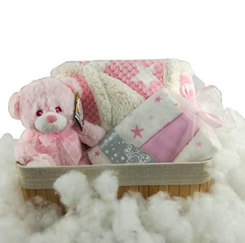 Canastilla bebé Osito entre nubes de algodón. Manta arrullo, muñeco musical, muselinas, cesta de almacenaje