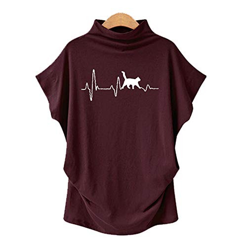 DREAMING-Camiseta De Manga Corta De Murciélago con Cuello En V para Mujer, Talla Grande, Primavera Y Verano, Manga Corta + Estampado XL