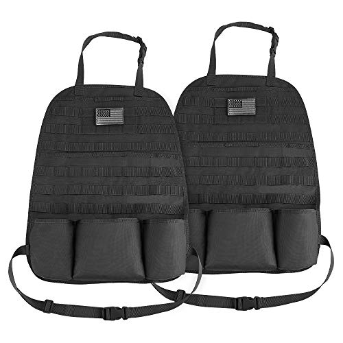 Car Seat Back Organizer, JoyTutus 2 Pack Universal Molle Seat Back Organizer, Tactical Molle Vehicle Panel Car Seat Cover Protector Compatible with Jeep Wrangler SUV Truck with 3 Storage Pouch - Black