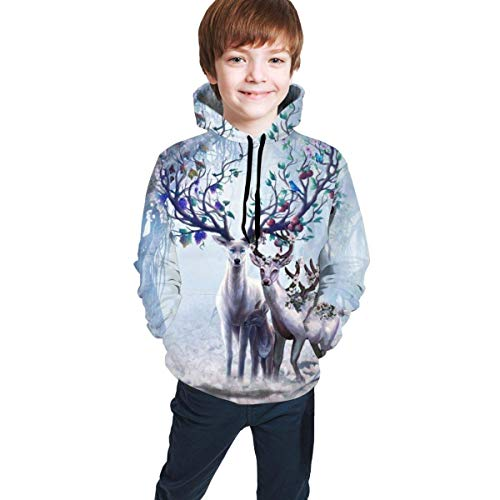 shenguang Sudadera con Capucha para nios Youth Hoodie Sweatshirt, Deer Realistic 3D Digital Printed Pullover Tops for Boys Girls 7-20 Years