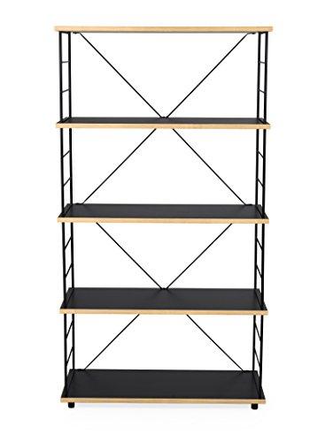 Tenzo 3400-908 EXO Designer rek, 145 x 80 x 35 (HxBxD), eiken, plaat: spaanplaat met zwart melamine oppervlak en een stootvaste rand in multiplex, eoche