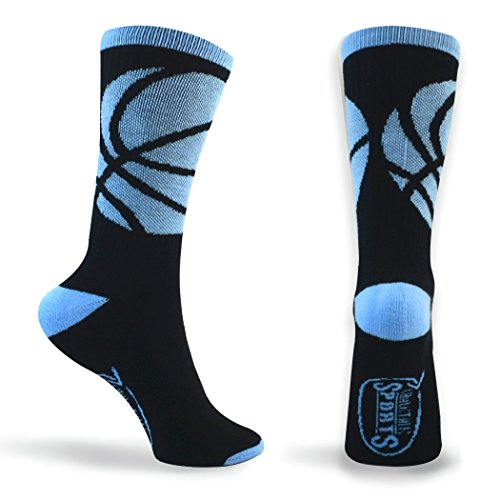 Basketball Sock | Athletic Mid Calf Woven Socks | Basketball Wrap | Black and Carolina Blue