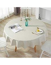 Qualsen Mantel Antimanchas Redondo Impermeable, 180 cm, Manteles Mesa Decorativo para Hogar Comedor del Cocina, Lino