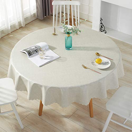 Qualsen Mantel Antimanchas Redondo Impermeable, 140 cm, Manteles Mesa Decorativo para Hogar Comedor del Cocina, Lino
