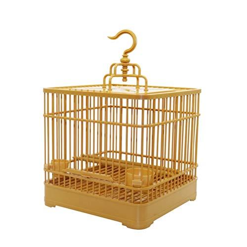 Aiglen Conjunto de jaula para pájaros con comedero y bebedero para pájaros pequeños,juego completo de plástico para casa de pájaros,jaula para loros,23x23x22cm