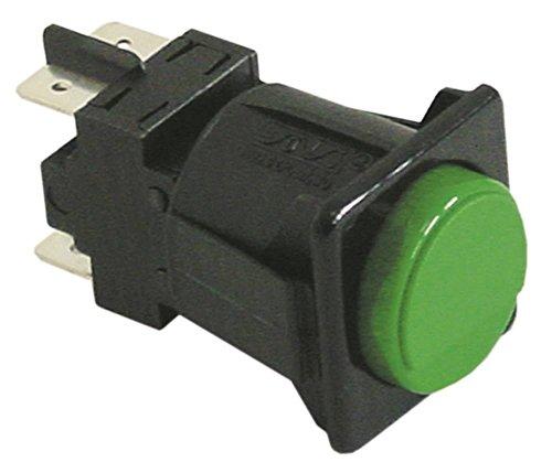 Lamber drukknop voor vaatwasser S200 groen 250V 2NO 2-polige aansluiting platte stekker 6,3 mm inbouwmaat 28,5x28,5mm 16A IP40