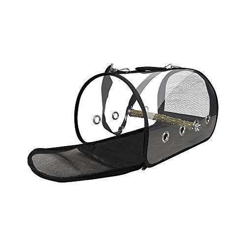 ZZM Tragetasche für Vögel, Leichter Vogelkäfig, transparent, für Papageien mit Reißverschluss und Holzstange.