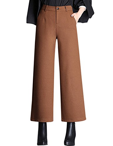 Tanming Women's Thick Wool Blend Cropped Wide Leg Pant Trousers (Large, Brown)